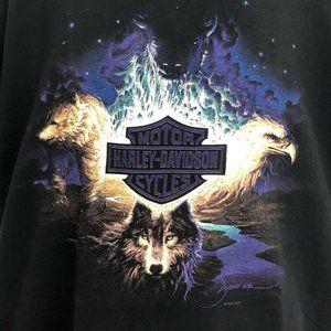 Vtg Harley Davidson Graphic Tshirt Wolf Eagle